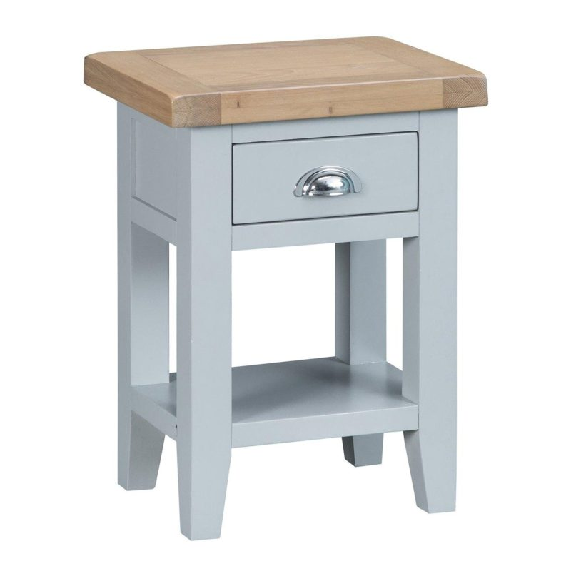 Grey-painted side table with drawer