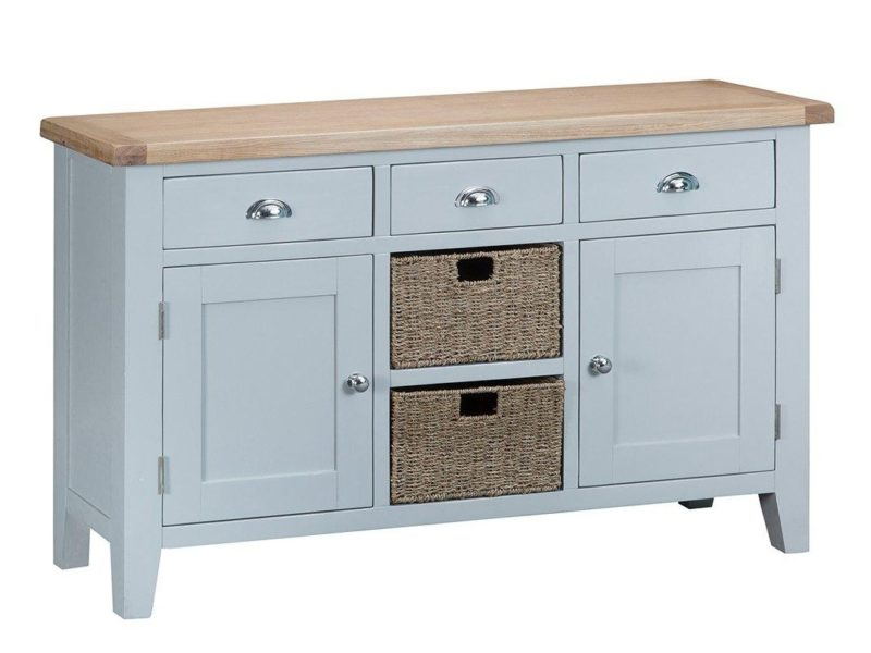 Grey-painted sideboard with drawers and baskets