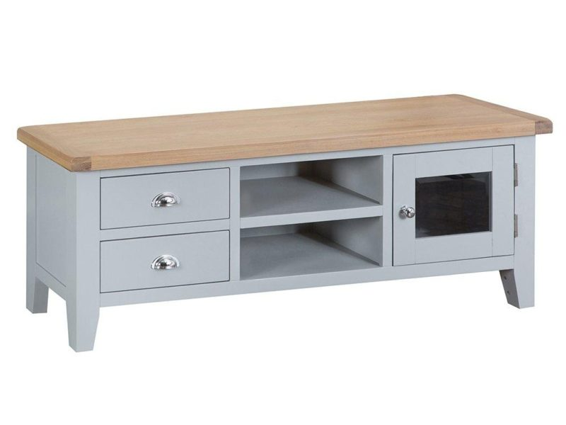 Grey-painted TV unit with oak top