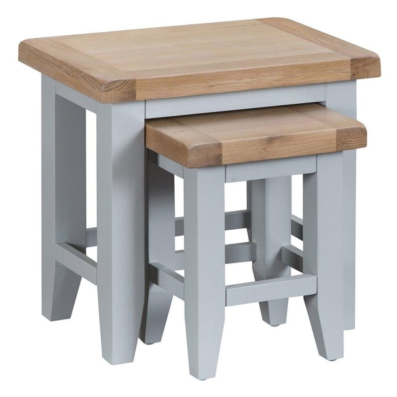 Grey-painted occasional tables with oak tops