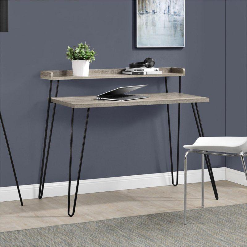 Grey oak 2-tier desk