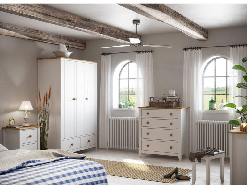 White-painted bedroom furniture with pine accents