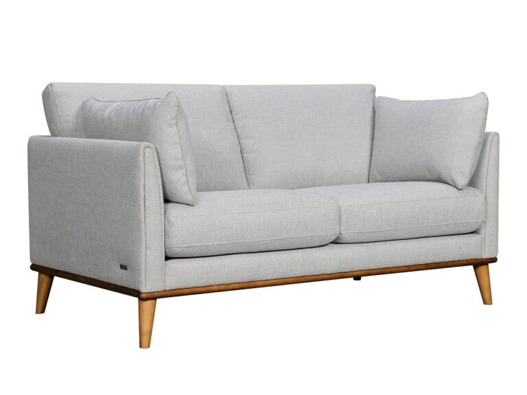 Grey fabric armchair with bolster cushions