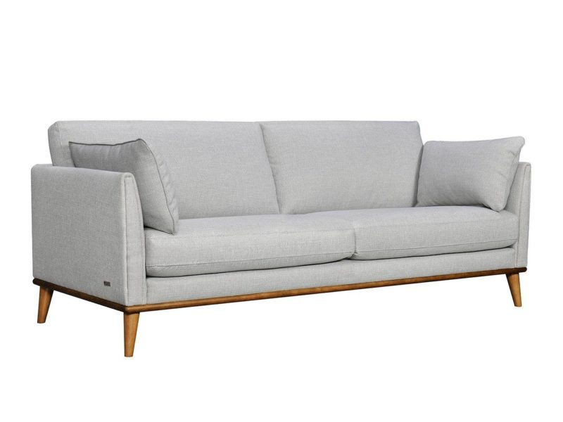 Grey 3-seater fabric sofa