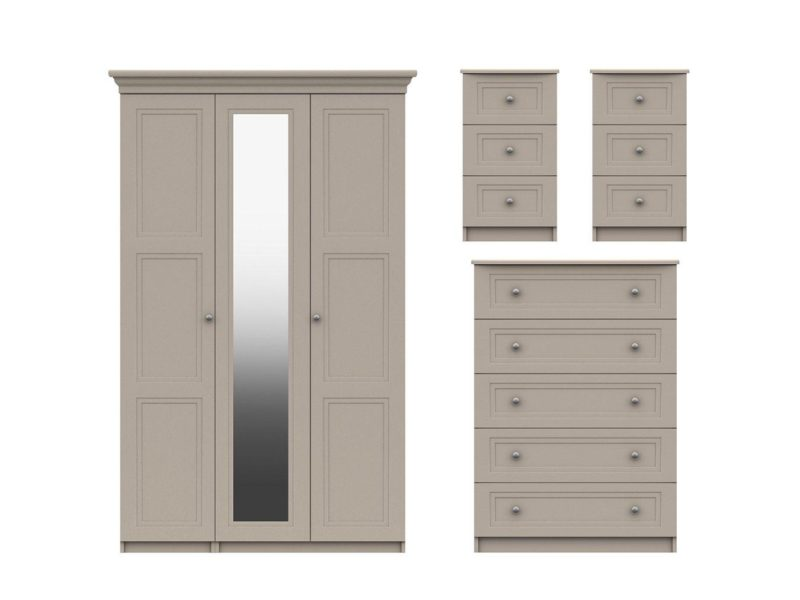 3 door wardrobe, 5 drawer chest and 2 x 3-drawer bedside units