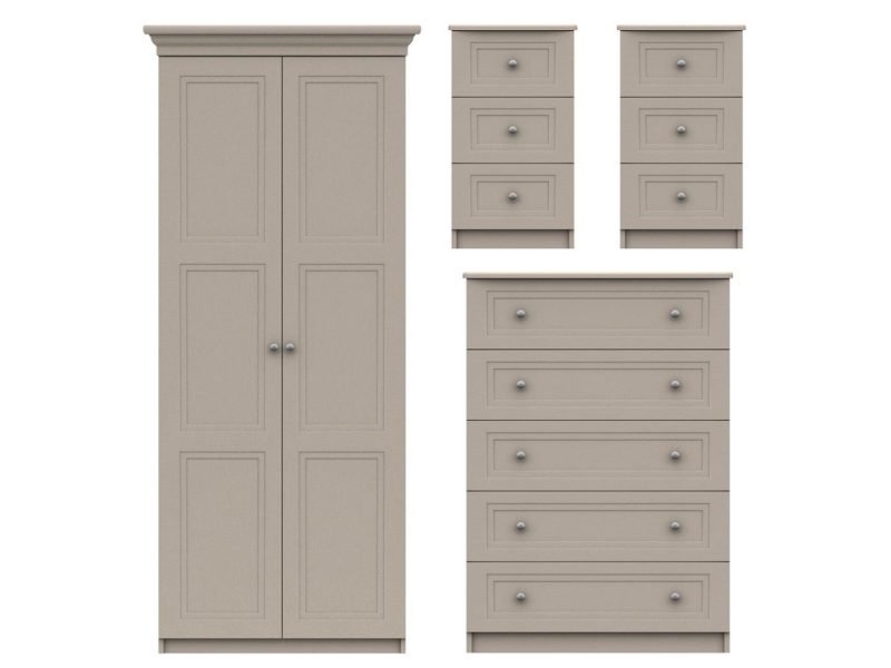 2 door wardrobe, 5 drawer chest and 2 x 3-drawer bedside units
