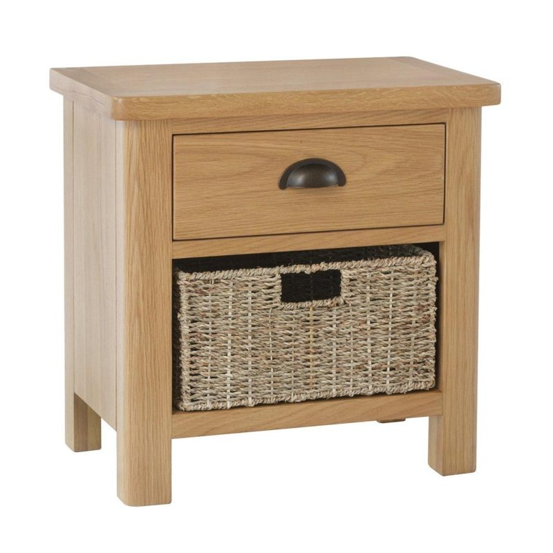 Oak unit with drawer and basket