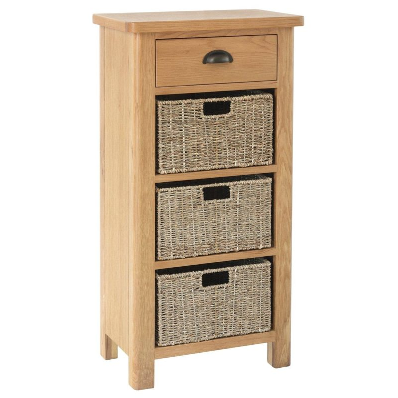 Oak unit with a drawer and 3 baskets