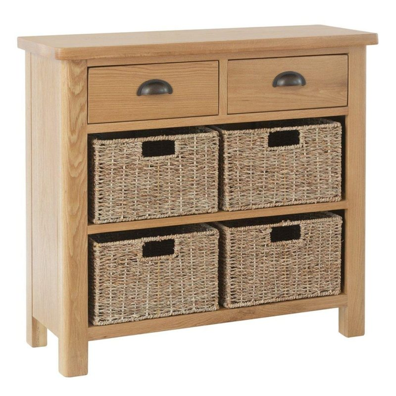 Oak sideboard with 2 drawers and 4 baskets