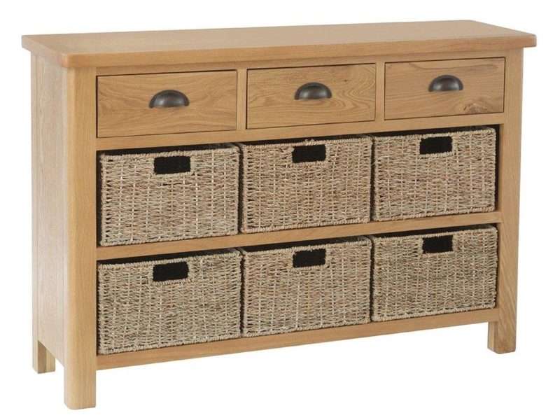Oak sideboard with 3 drawers and 6 baskets