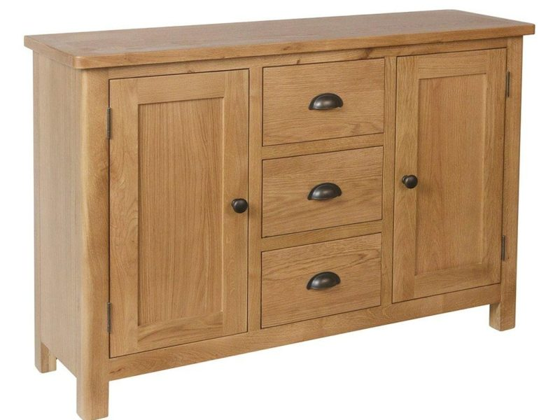 Oak sideboard with 2 doors and 3 drawers