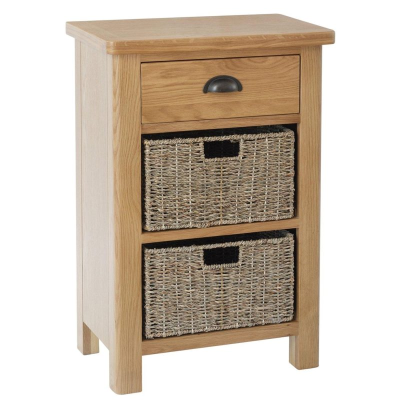 Oak unit with drawer and 2 baskets