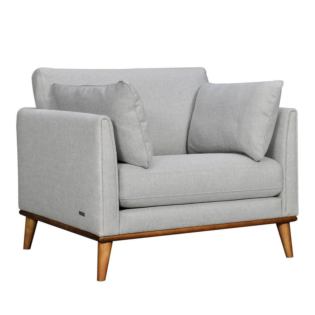 Grey textured fabric upholstered armchair