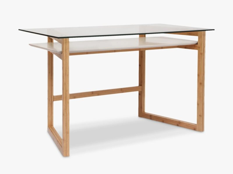 2-tier glass top desk with wooden frame