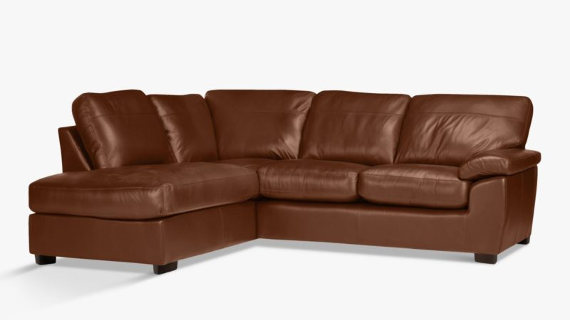 Left-handed leather corner chaise