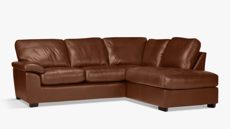 Right-handed leather corner chaise