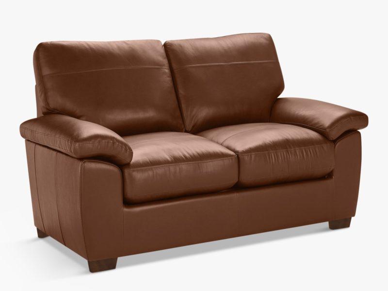 Small tan leather 2-seater sofa