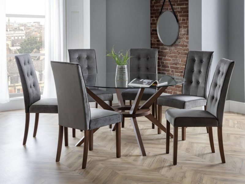 Large round dining table and 6 high back dining chairs
