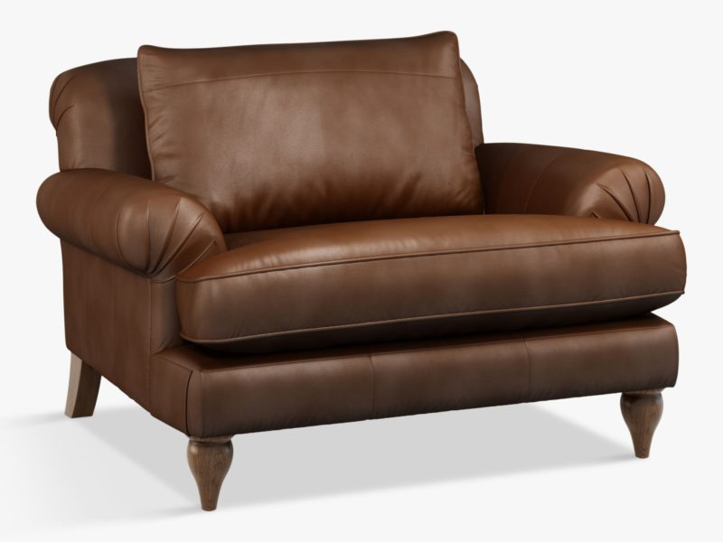 Snuggler-style leather armchair