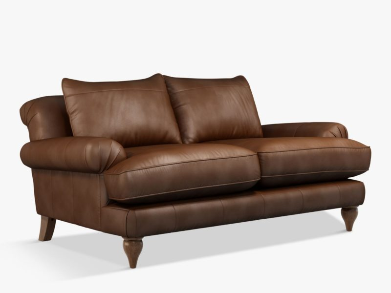 2-seater brown leather sofa