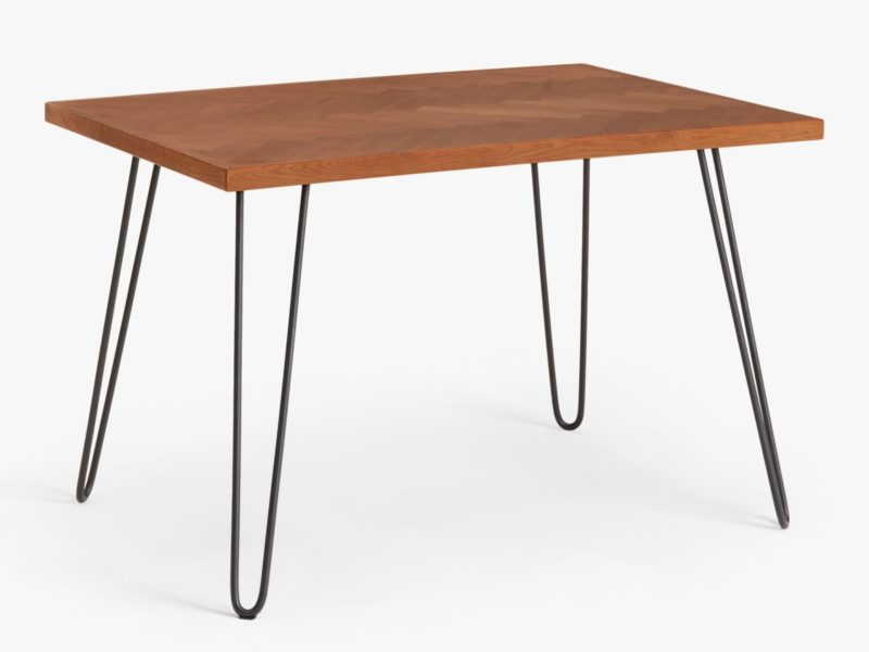 6 seater oak table with black hairpin legs