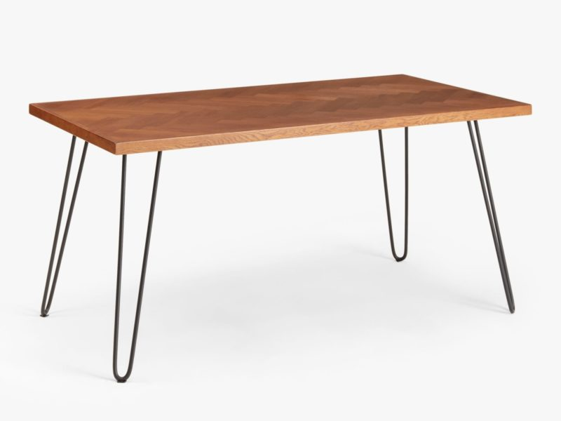8 seater oak dining table with black hairpin legs