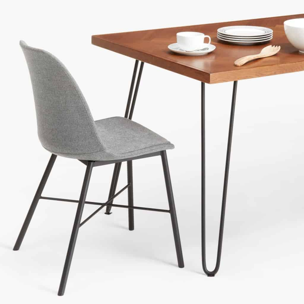 Oak dining table with black hairpin legs
