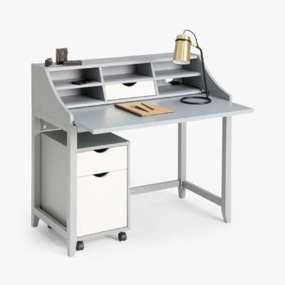 Grey desk with storage