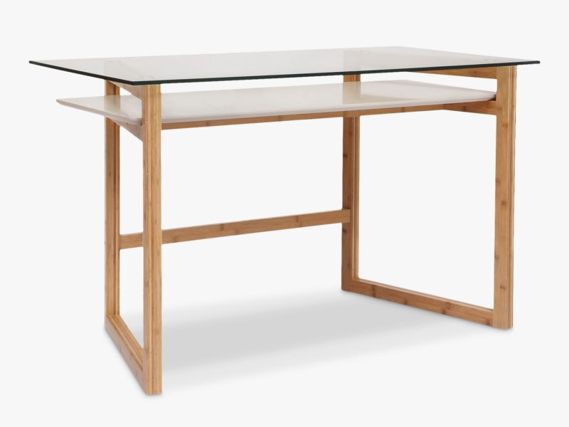 Bamboo frame desk with glass top