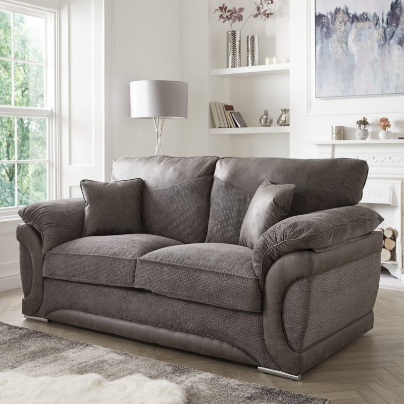 2-seater grey fabric cushion