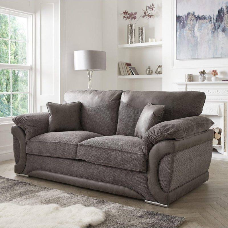 Modern 3-seater grey fabric sofa