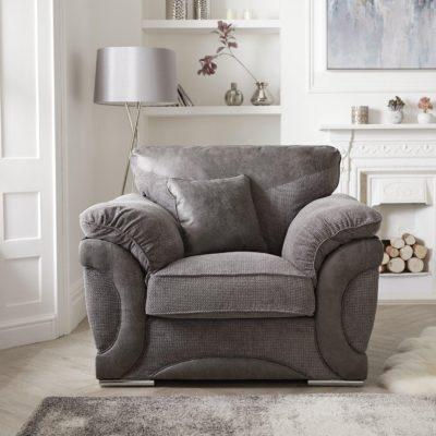 Contemporary grey fabric armchair