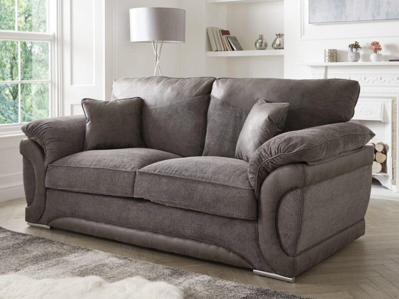 Suede and fabric sofa