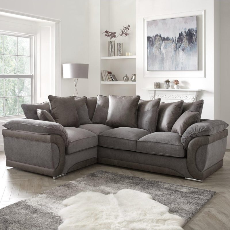 Grey fabric corner sofa with sofa bed