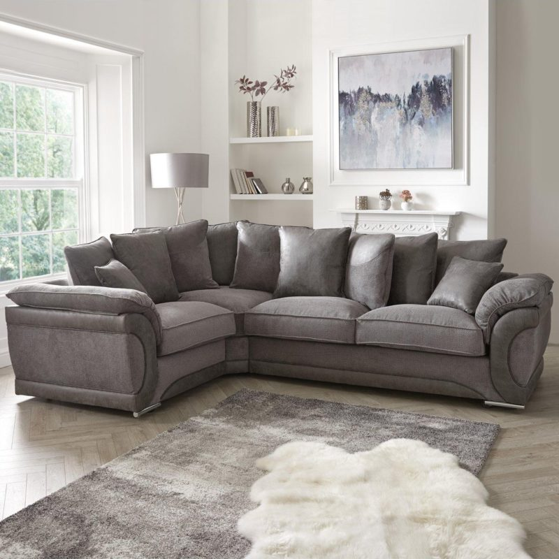 Left-hand grey fabric corner sofa