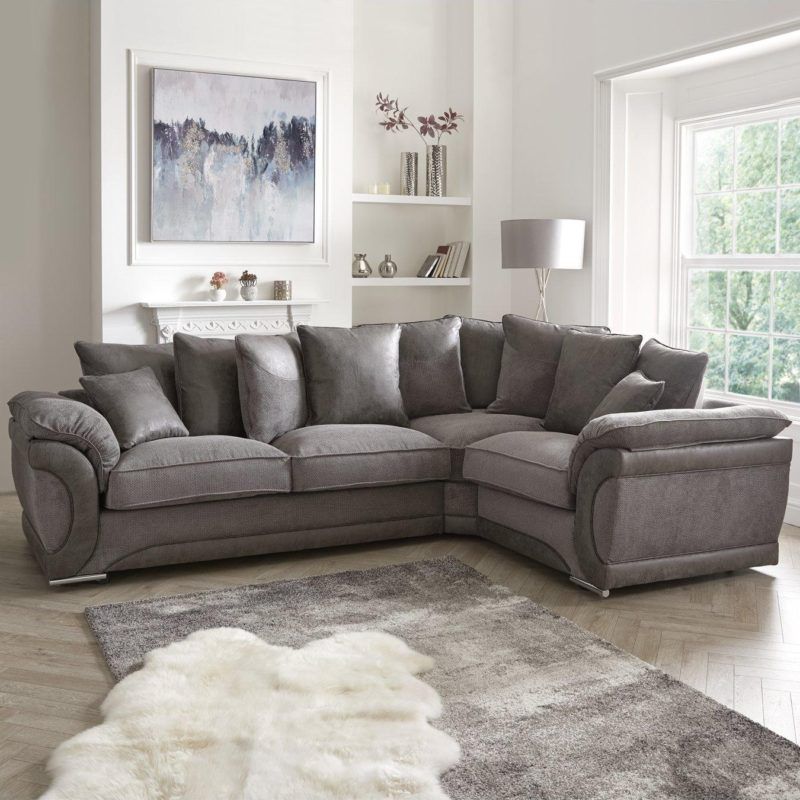 Right-handed grey fabric corner sofa