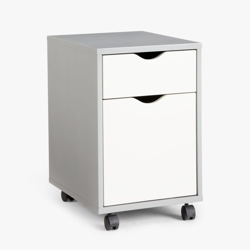Grey filing cabinet with 2 white drawers and casters