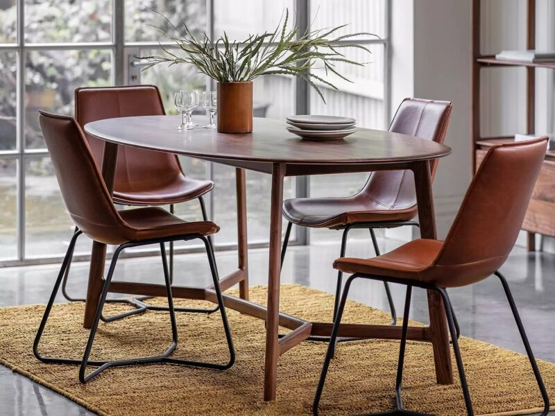 Walnut dining table and 4 leather chairs