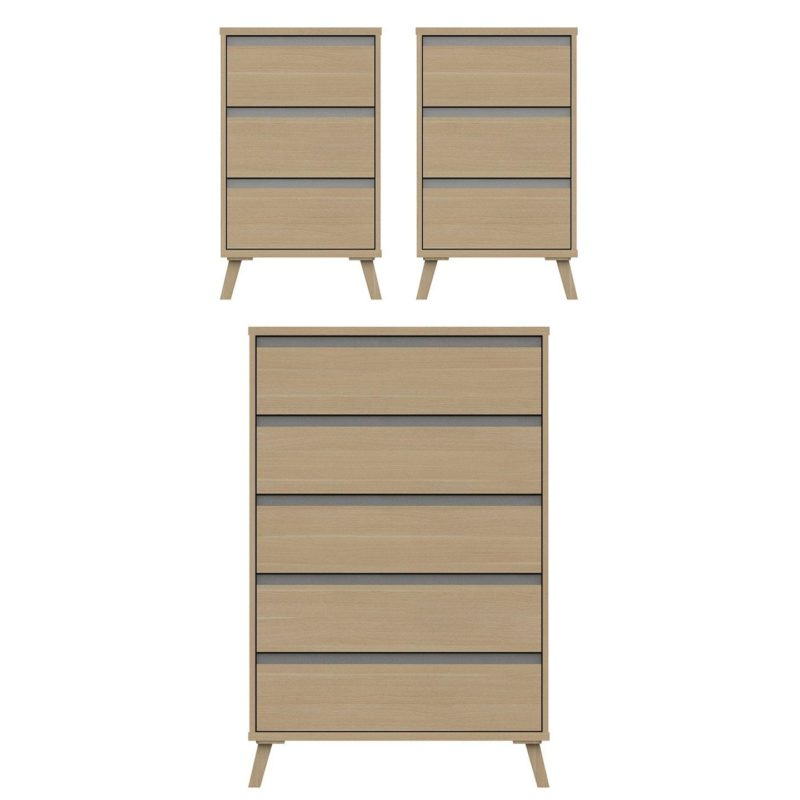 Pair of bedside units and a 5-drawer chest