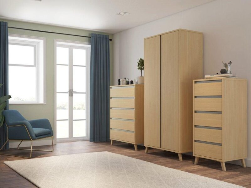 Oak bedroom furniture with grey accents