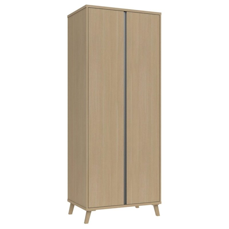 Modern 2-door wardrobe with oak finish and grey=painted concealed handles