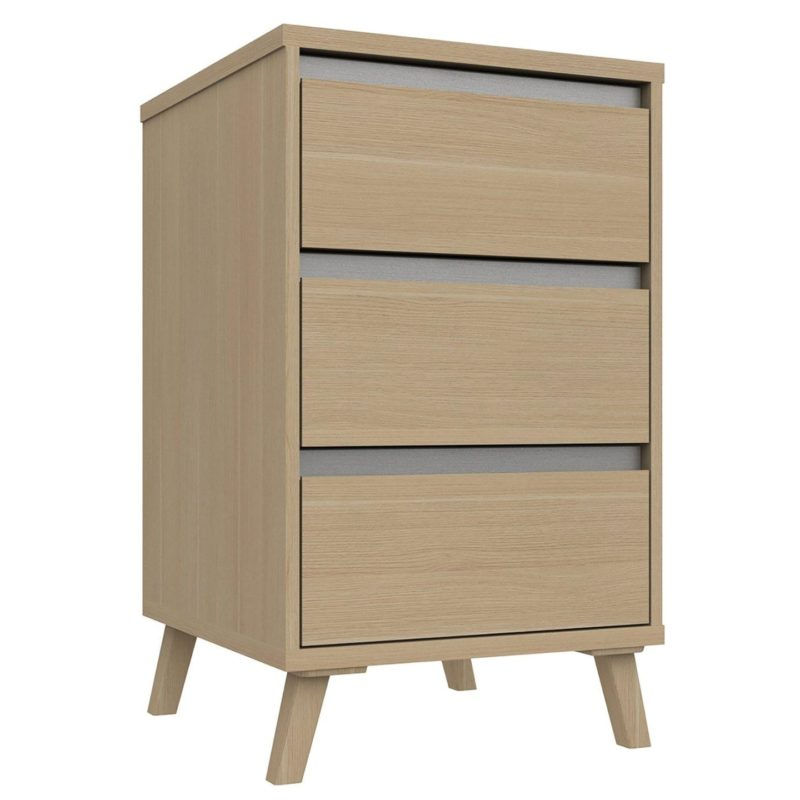 3-drawer bedside cabinet with concealed handles and splayed legs