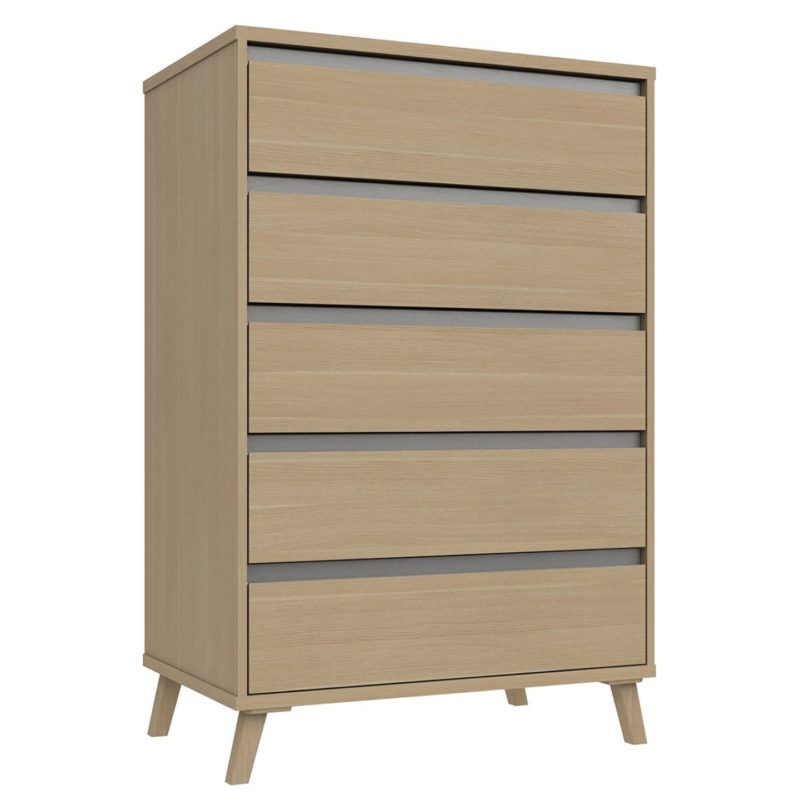 Wide, contemporary 5-drawer chest