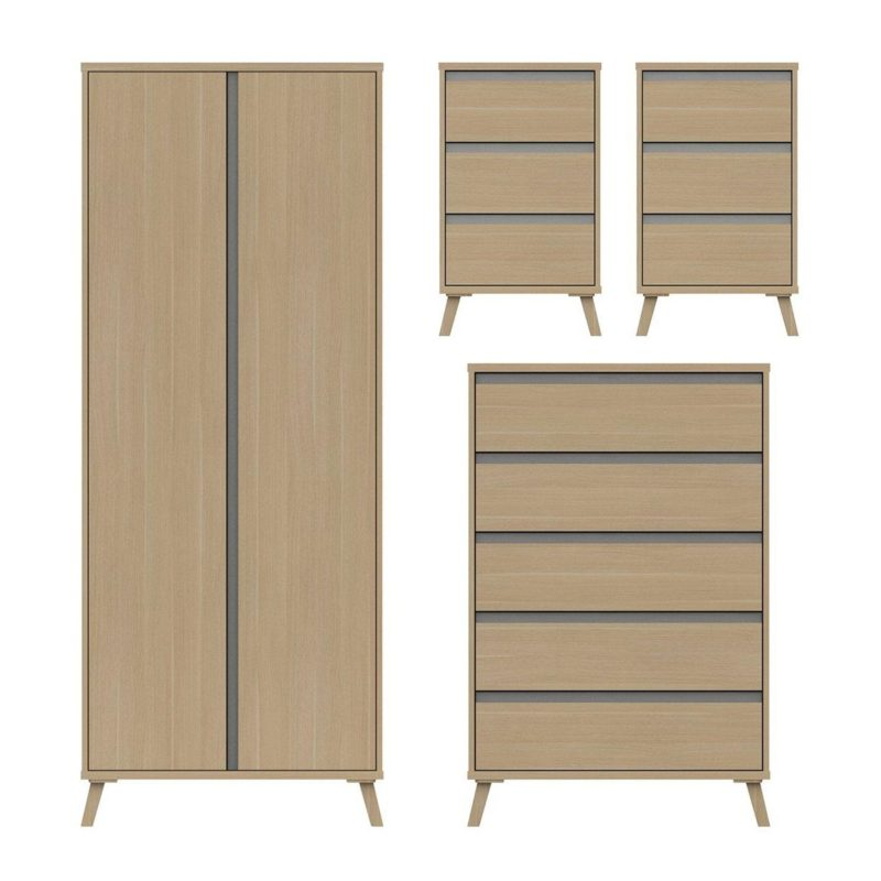2 door wardrobe, 2 bedside drawer units and a 5-drawer chest