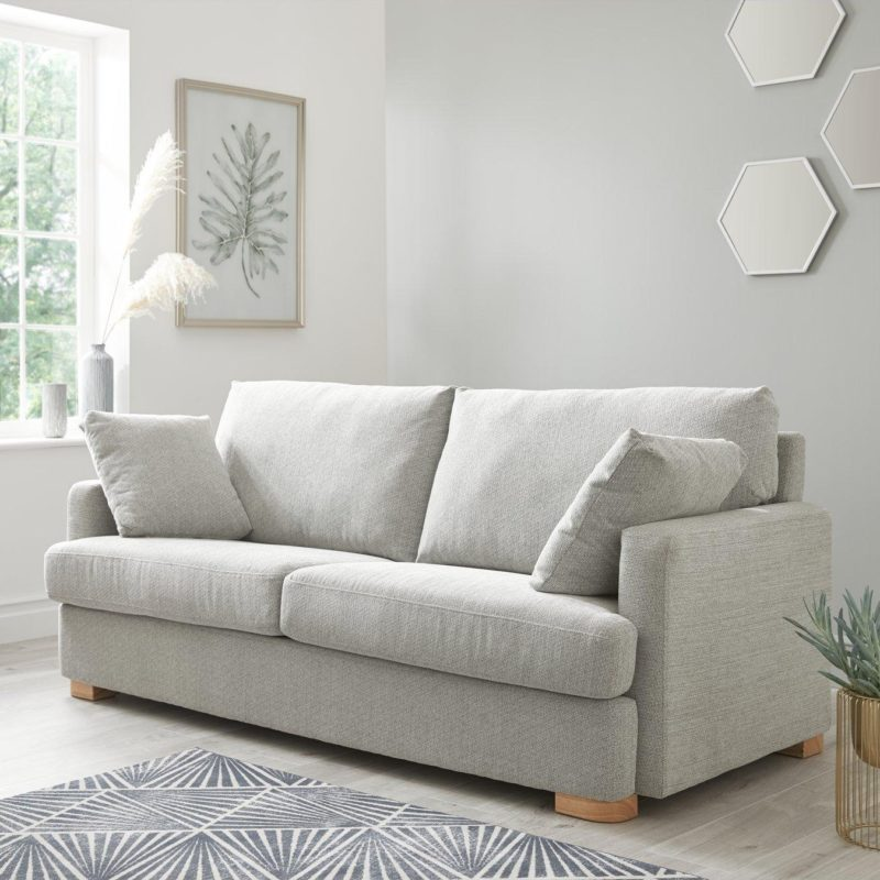 Grey fabric 3-seater sofa