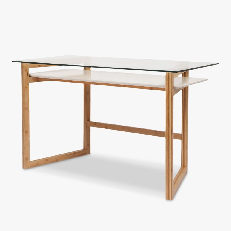 Bamboo desk with glass top