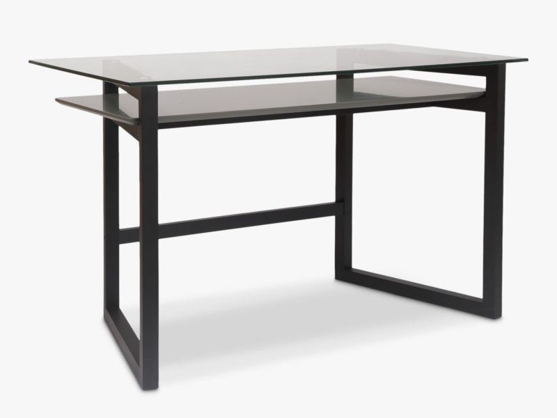 Black frame desk with glass top