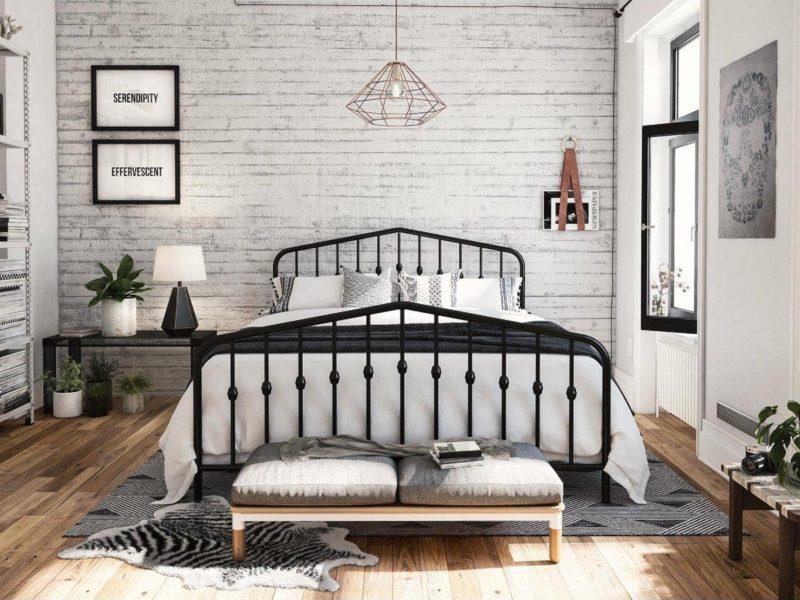 Black-painted metal bed frame