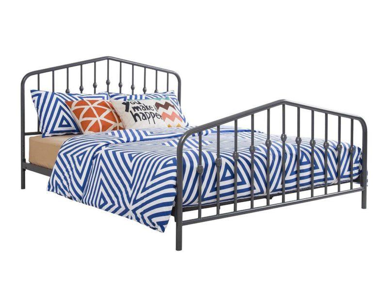Grey-painted metal bed frame