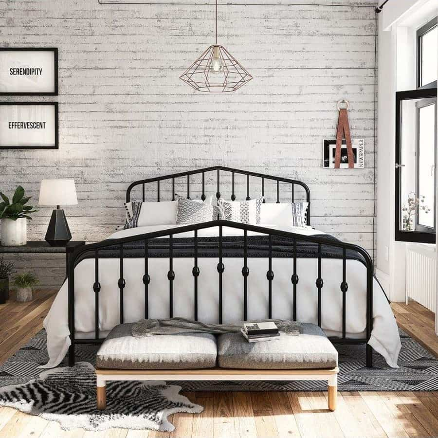 Painted metal double bed